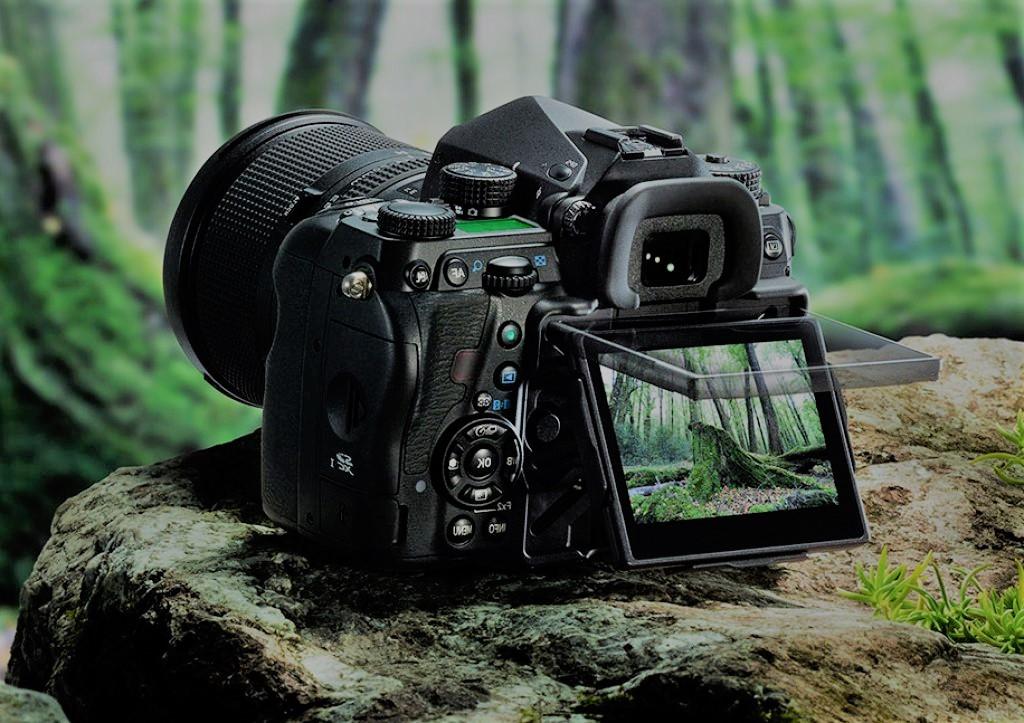 Een spiegelreflexcamera in een bos.